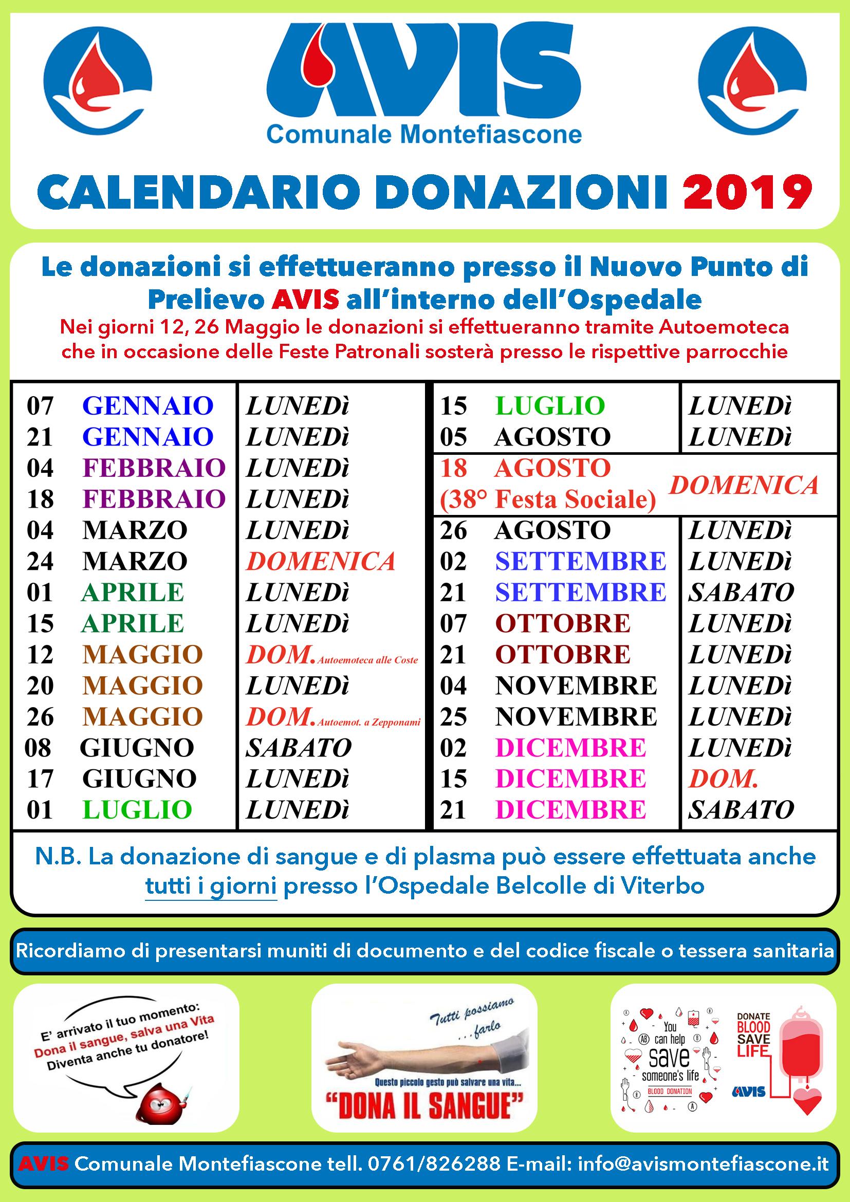 Calendario Maggio Giugno Luglio 2019.Calendario Donazioni Avis Comunale Montefiascone